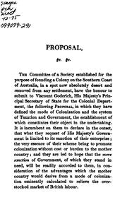 Cover of: Proposal to His Majesty's Government for Founding a Colony on the Southern Coast of Australia | South Australian Land Company, South Australian Land Company , London