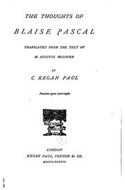 Cover of: The Thoughts of Blaise Pascal