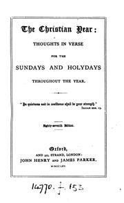 Cover of: The Christian Year: Thoughts in Verse For the Sundays and Holydays Throughout the Year