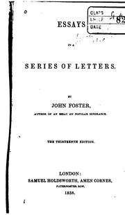 Cover of: Essays in a Series of Letters