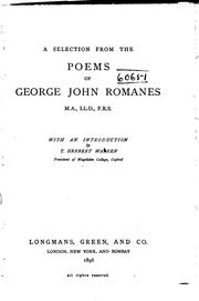 Cover of: A Selection from the Poems of George John Romanes