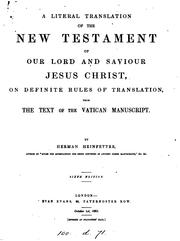 Cover of: A literal translation of the New Testament, by Herman Heinfetter |