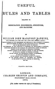 Cover of: Useful Rules and Tables Relating to Mensuration, Engineering, Structures and Machines