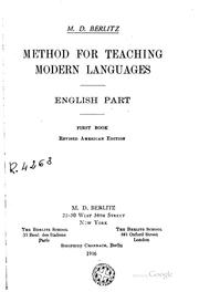 Cover of: Method for Teaching Modern Languages: English Part