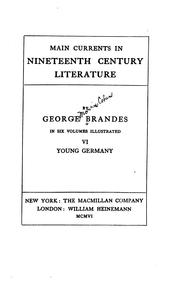 Cover of: Main Currents in Nineteenth Century Literature | Georg Morris Cohen Brandes