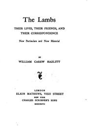 Cover of: The Lambs: Their Lives, Their Friends, and Their Correspondence : New ..
