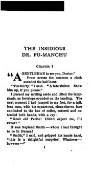 Cover of: The Insidious Dr. Fu-Manchu: Being a Somewhat Detailed Account of the Amazing Adventures of ..