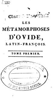 Cover of: Les métamorphoses d'Ovide