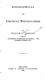 Cover of: Biographical and Critical Miscellanies