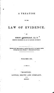 Cover of: A Treatise on the Law of Evidence