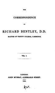 Cover of: The correspondence of Richard Bentley [ed. by C. Wordsworth]