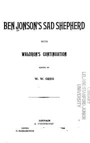 Cover of: Ben Jonson's Sad Shepherd: With Waldron's Continuation