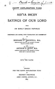 Cover of: Sayings of Our Lord from Early Greek Papyrus