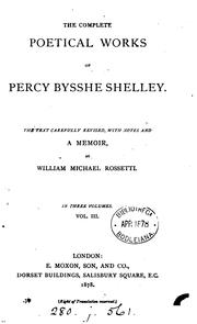 Cover of: The complete poetical works of Percy Bysshe Shelley | Percy Bysshe Shelley