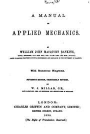 Cover of: A Manual of Applied Mechanics
