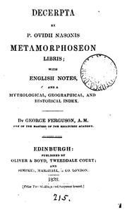Cover of: Decerpta ex ... Metamorphoseon libris, with Engl. notes by G. Ferguson