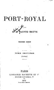 Port-Royal by Charles Augustin Sainte-Beuve