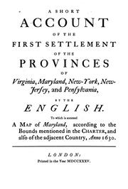 Cover of: A Short Account of the First Settlement of the Provinces of Virginia, Maryland, New York, New ..