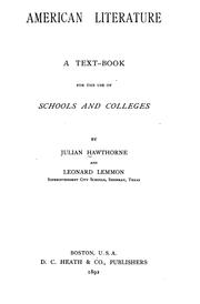 Cover of: American Literature: A Text-book for the Use of Schools and Colleges