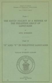Cover of: Batán dialect as a member of the Philippine group of languages | Otto Scheerer