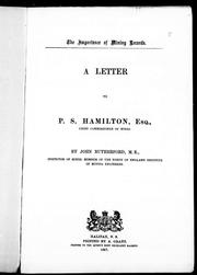 Cover of: A letter to P.S. Hamilton, Esq., Chief commissioner of mines |