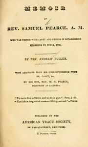 Cover of: Memoir of Rev. Samuel Pearce, A. M