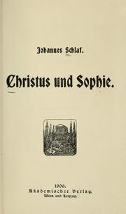 Cover of: Christus und Sophie
