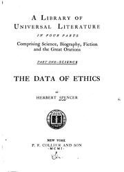 Cover of: The Data of Ethics