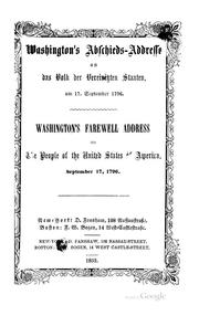 Cover of: Farewell address of George Washington to the people of the United States of America