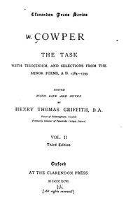 Cover of: The Task: With Tirocinium, and Selections from the Minor Poems, A.D. 1784-1799