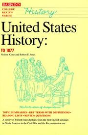 Cover of: United States history to 1877 | Nelson Klose