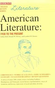 Cover of: American literature: 1930 to the present