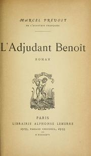 Cover of: L' adjudant Benoît
