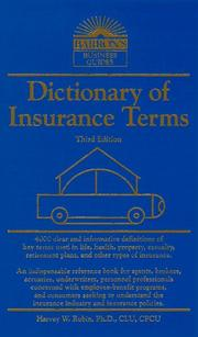Cover of: Dictionary of insurance terms