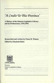 Cover of: A credit to this province | Fiona M. Watson