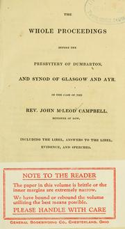 Cover of: The whole proceedings before the Presbytery of Dumbarton, and Synod of Glasgow and Ayr