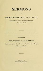 Cover of: Sermons | John L. Girardeau