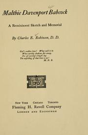 Cover of: Maltbie Davenport Babcock, a reminiscent sketch and memorial | Charles Edward Robinson