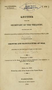 Cover of: Letter from the Secretary of the Treasury