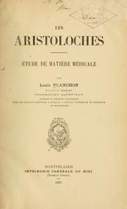 Cover of: Les aristoloches