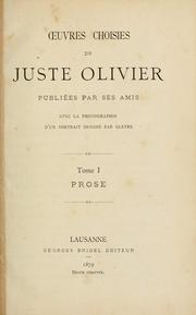Cover of: uvres choisies de Juste Olivier