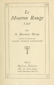 Cover of: Le mouron rouge, 1792