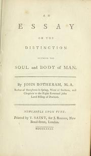 Cover of: An essay on the distinction between the soul and body of man