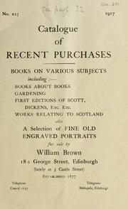 Cover of: Catalogue of recent purchases | William Brown (Booksellers)