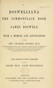 Cover of: Boswelliana: the commonplace book of James Boswell