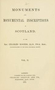 Cover of: Monuments and monumental inscriptions in Scotland