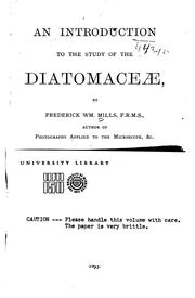 Cover of: An Introduction to the Study of the Diatomaceæ