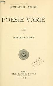 Cover of: Poesie varie, a cura di Benedetto Croce
