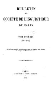 Bulletin de la Société de linguistique de Paris by Société de linguistique de Paris