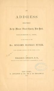 Cover of: An address delivered in the Mercer street church